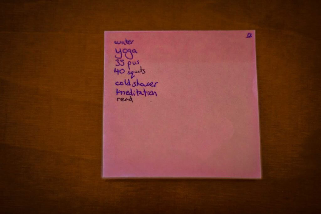 morning routine post it