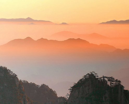 Huangshan sunrise china mountain amt